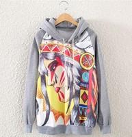 [bunny] 2014New Fashion Casual Lady Women Gray  Hooded Pullover Long Sleeve Cartoon characters Printed women's Sweatshirt Hoodie