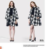 Fashion cashmere plaid women's woolen outerwear three quarter sleeve straight women's wool coat medium-long