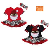 210970 summer christmas gift leopard print short-sleeve dress ribbon twinset girl dress size 80-120cm free shipping