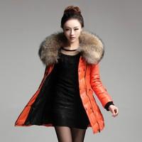 2014 Winter New Arrival Women Genuine Leather Down Long Jackets Large Raccoon Fur Collar Natural Sheepskin Female Outwear Coat