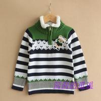 Child boys girls knitted sweater cotton stripe sweater bear coral fleece shirt 100-120-130cm boy fall cardigan thermal outwear