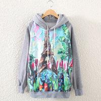 [bunny] 2014 New  Casual Lady Women Gray  Hooded Pullover Long Sleeve Eiffel Tower  Printed women's Sweatshirt Hoodie