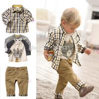DJ121Wholesale + Free Shipping! new spring baby clothes set cool boy 3 pcs suits t-shirt+shirt+pants children garment