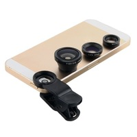 Universal 3in1 Clip-On Fish Eye Lens Wide Angle Macro Mobile Phone Lens For iPhone 4 5 Samsung Galaxy S4 S5 All Phones