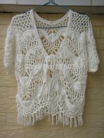 White Fringe Bolero Jacket Womens Boho Handmade Hairpin Crochet Crop Top