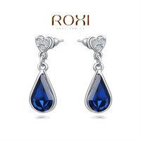 ROXI 2014 Earrings For Women platinum Drop Earrings Fashion Crystal Brincos Jewelry Gift 390 Free Shipping