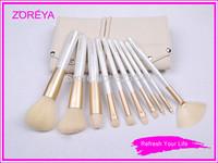 Retail Zoreya 10pcs brush set loose powder brush blush brush makeup cosmetic tools cosmetic brush set yellow color Free Shipping