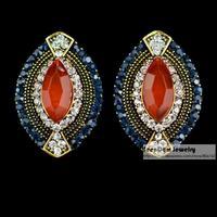 SeenDom Luxury Palace Vintage Jewelry CZ Crystal Oval Brincos Resin Cut Simulated Gemstone Statement Stud Earring SCE058