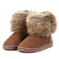 Fur Boots Womens Fox Fur Winter Short Snow Boots Woman New Fashion Warm Winter Boots Camel Brown Black 2015