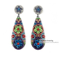 SeenDom Luxury Style Multicolor Rhinestone Flowers Large Brincos Acrylic Water Drop Crystal Statement Dangle Earring SCE059