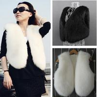 Brand New 2014 Autumn Winter Faux Fur Vest Women Short Sleeveless Jacket Outwear Plus Size 3XL Ladies Waistcoat