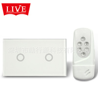 Europe and the United States 120 two remote control switch touch switch grade crystal glass pane llivolo
