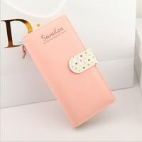 Promotion! New Fashion Lovely Korean Style  Long Design Women's Polka Dot Multi-card Wallet Female Zipper Card Holder Purse