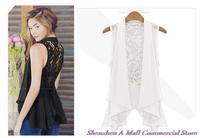 Hot sale 2014 women's vest plus size chiffon vest medium-long chiffon lace vest outerwear vest female free shipping #AN142