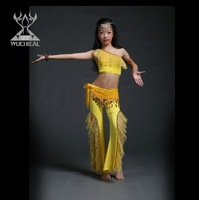 Cute And Beautiful Kids Belly Dance Performance Costume Made Of Milk Silk In Different Colors 3 Pieces top pant belt