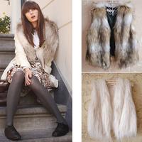 Hot Sale 2014 Autumn Winter Female Faux Fur Vest Women Sleeveless Vest Outerwear Plus Size Fur Vest Ladies Coat Short Waistcoat