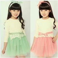 2014 Autumn Girls Korean dress Lace Sheer Long-sleeved dress Fashion princess dress Retail Free shipping 4-9Y