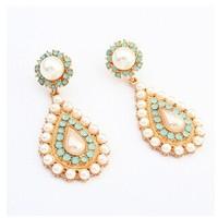 2014 New Arrive Fashion Jewelry  Pearl Water Drop Earrings For Women Big Long Earrings