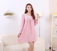 Spring Autumn Long-sleeved Chiffon Loose Maternity Dress Pregnant Women Clothing Plus Size Dress