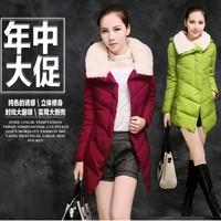 Cotton-padded jacket female medium-long slim wadded jacket female winter outerwear plus size clothing cotton-padded jacket