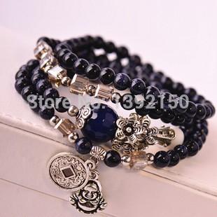 Natural Blue sandstone bracelet Blue Crystal Agate Bracelet Coins Amulets Prayer beads bracelet(China (Mainland))