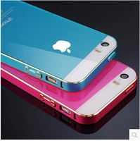 New Ultra Thin Slim  Aluminum Smoked pull type Bumper + Back cover Frame For iPhone 5 5S
