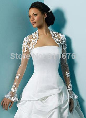 New 2015 luxury White/Ivory Tulle Appliqued Lace Wedding Dresses Jacket Boleros Bridal Shrug Jacket Long Sleeve shawls and wraps(China (Mainland))
