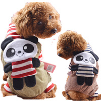 2014 New Red/Black Striped Panda Pet Puppy Clothes For Small Dogs SC28 XS/S/M/L/XL  Brand Winter Chihuahua Cat Costume Products