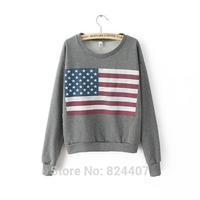 Women American Flag Printed Sweatshirt Hoodies Onesie Pullover Fashion Brand Designer Casual Autumn Winter Clothes 2014 Fall New