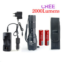 FREE SHIPPING 2000 lumens cree xml t6 high power adjustable led flashlight  A100+DC/Car Charger+2*18650 battery+Holster Holder