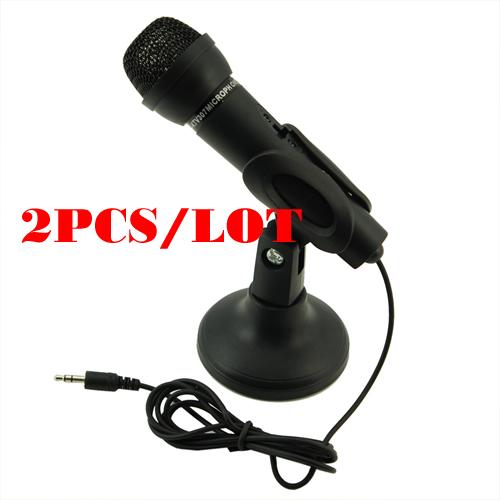 Free Shipping 2pcs/lot Black 3.5mm Mini Studio Speech Mic Microphone w Stand(China (Mainland))