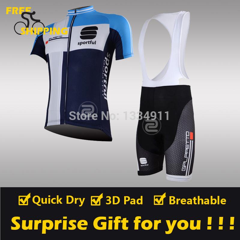 2013 Blue sportful Short Sleeve Cycling Jersey and Bib Short Bicycle/Riding/Cycling Wear/