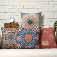 Vintage National Wind  Auspicious patterns  Flower Linen pillow cover cushion cover Square Pillowcases Home Decor sofa cushions