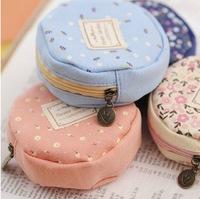 MeetU Meow bags circular floral cloth coin purse zipper bag Korean ladies Wallets Bags for girls canvas Coin Purse ,coin case
