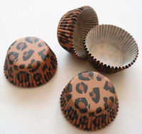 Free Shipping 300pcs Brown Leopard Mini Size Cupcake Liners Baking Cups Party Cake Tools Decorations Base 33mm