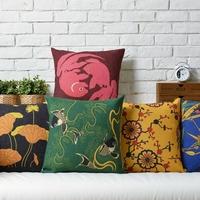 Good luck Modern Chinese pastoral Carp Plum Lotus Linen pillow cover cushion cover Square Pillowcases Home Decor sofa cushions