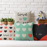 IKEA LOVE  Couple models  Wedding heart-shaped gift Linen pillow cover cushion cover Square Pillowcases Home Decor sofa cushions