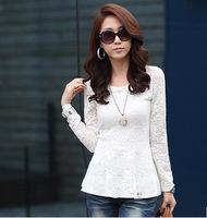 2014 spring new Korean version of women's large size lace shirt Slim primer shirt long-sleeved lace Female Shirts free shipping
