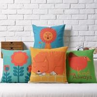 IKEA style cute cartoon animal childlike Linen pillow cover cushion cover Square Pillowcases Home Decor sofa cushions