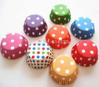 Free Shipping 200pcs Polka Dot Mixed 8 Colors Mini Cupcake Liners Baking Cups Party Decorations Base33mm
