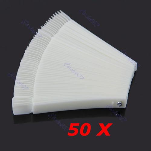 Free Shipping 50x Fan-shaped Natural False Tips Sticks Polish Display Nail Art supply selling(China (Mainland))