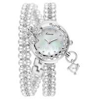 KIMIO Women Pearl Korea Rhinestone Bracelet Watch with MIYOTA 2035 Japan Movt,12-month Guarantee