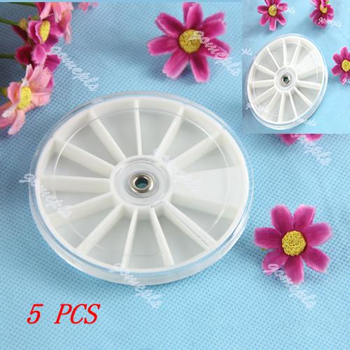 Free Shipping 5PCS Nail Art Empty Round Wheel Jewelry Pill Nail Art Drug Storage Ring Case Box Selling(China (Mainland))