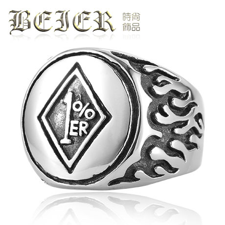 FREE SHIPPINGBEIER new men in Europe and America retro personality titanium steel rings custom motorcycle club paragraph 1% ER R(China (Mainland))