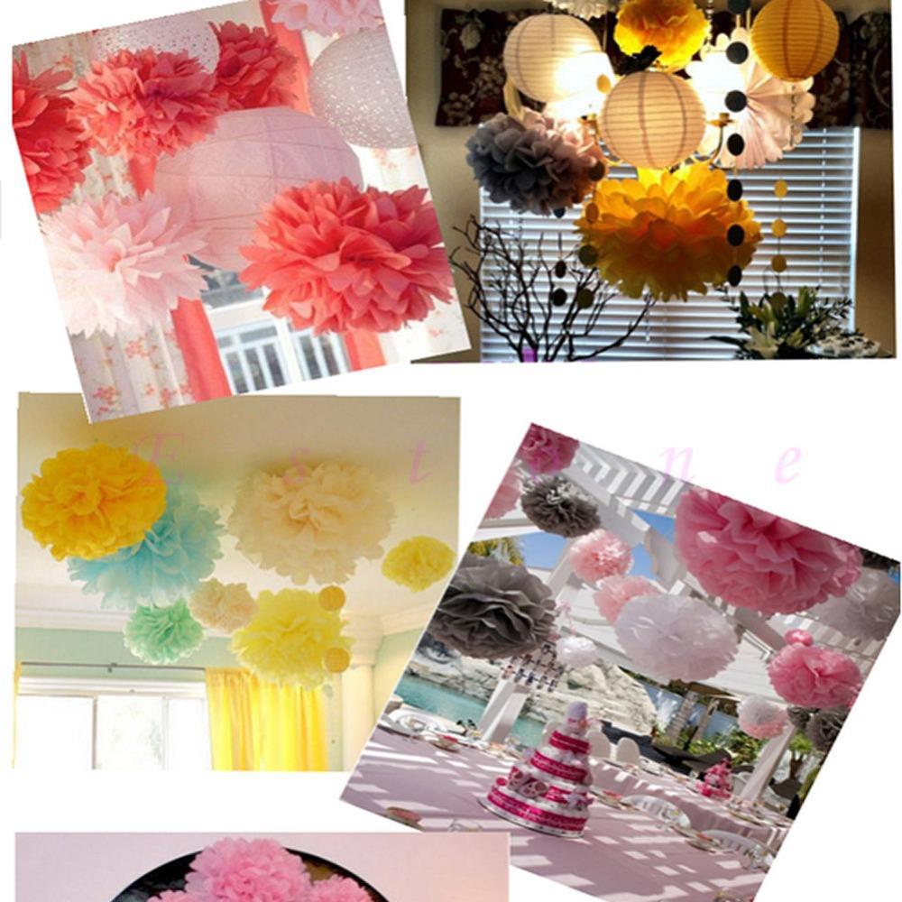 "6"" 8"" 10"" 12"" 15"" Tissue Paper Pom Flowers Balls Wedding Birthday Party Decor(China (Mainland))"