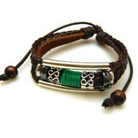 Fashion green rope leather bracelet Multilayer knitting bracelet Women jewelry man jewelry