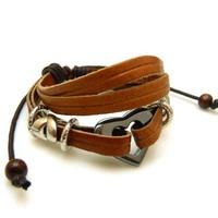 Fashion heart leather bracelet Multilayer knitting bracelet Women jewelry man jewelry
