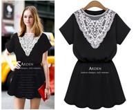 2014 Summer European Style Women's  Lace Collar Short Sleeve Elegant Slim Fashion Casual Dress 865