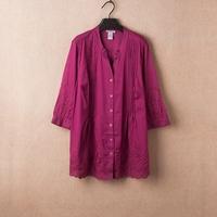 XXL-8XL Plus Size Casual Women Embroidery Blouse Stripe Cotton Tunic Office Lady Shirt Big Large Oversize XXXXXL 2014 New Autumn