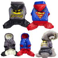 Batman & Superman Nylon Taffeta Material Dog Clothes Pet Hood Clothing Warm Coat Grey + Blue
